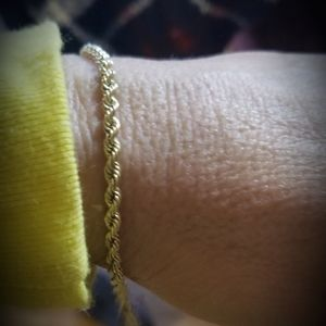 Solid 14k Gold, Rope bracelet with safety loc